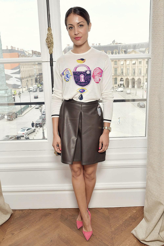 Hiba Abouk attends the Schiaparelli Fashion show