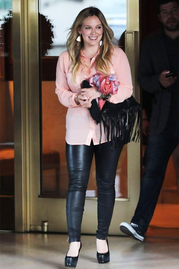 Hilary Duff arriving at the Sunset Towers