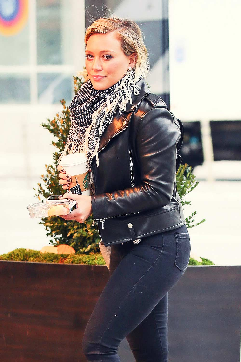 Hilary Duff at her Hotel in NYC