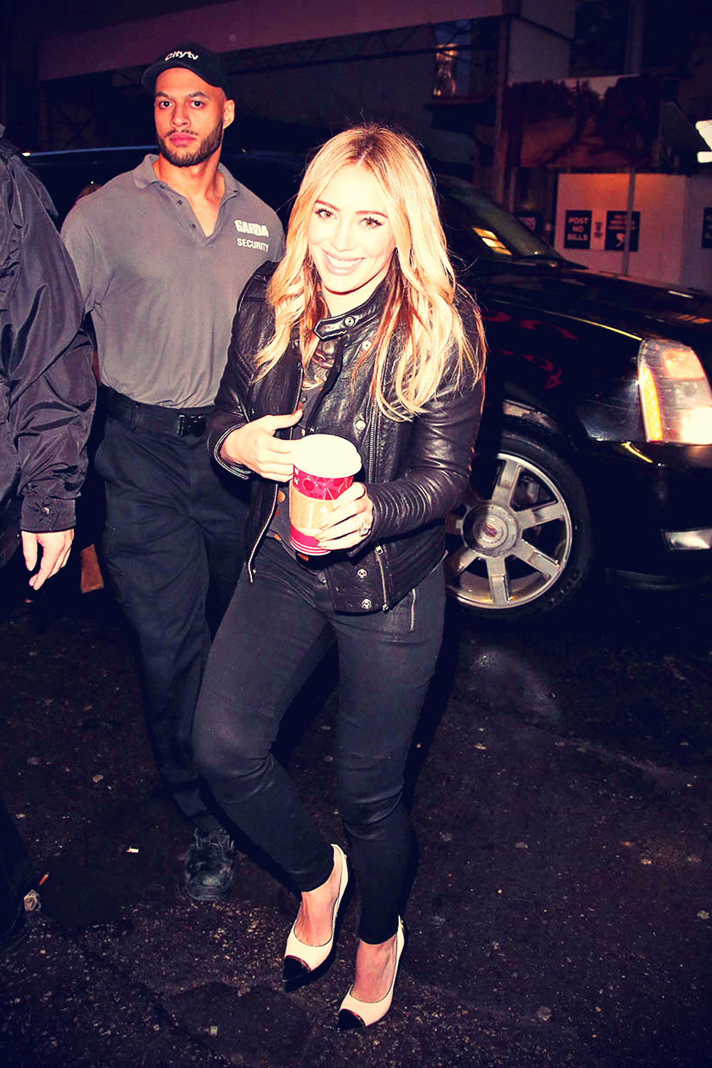 Hilary Duff arrives to make an appearance on Breakfast Television