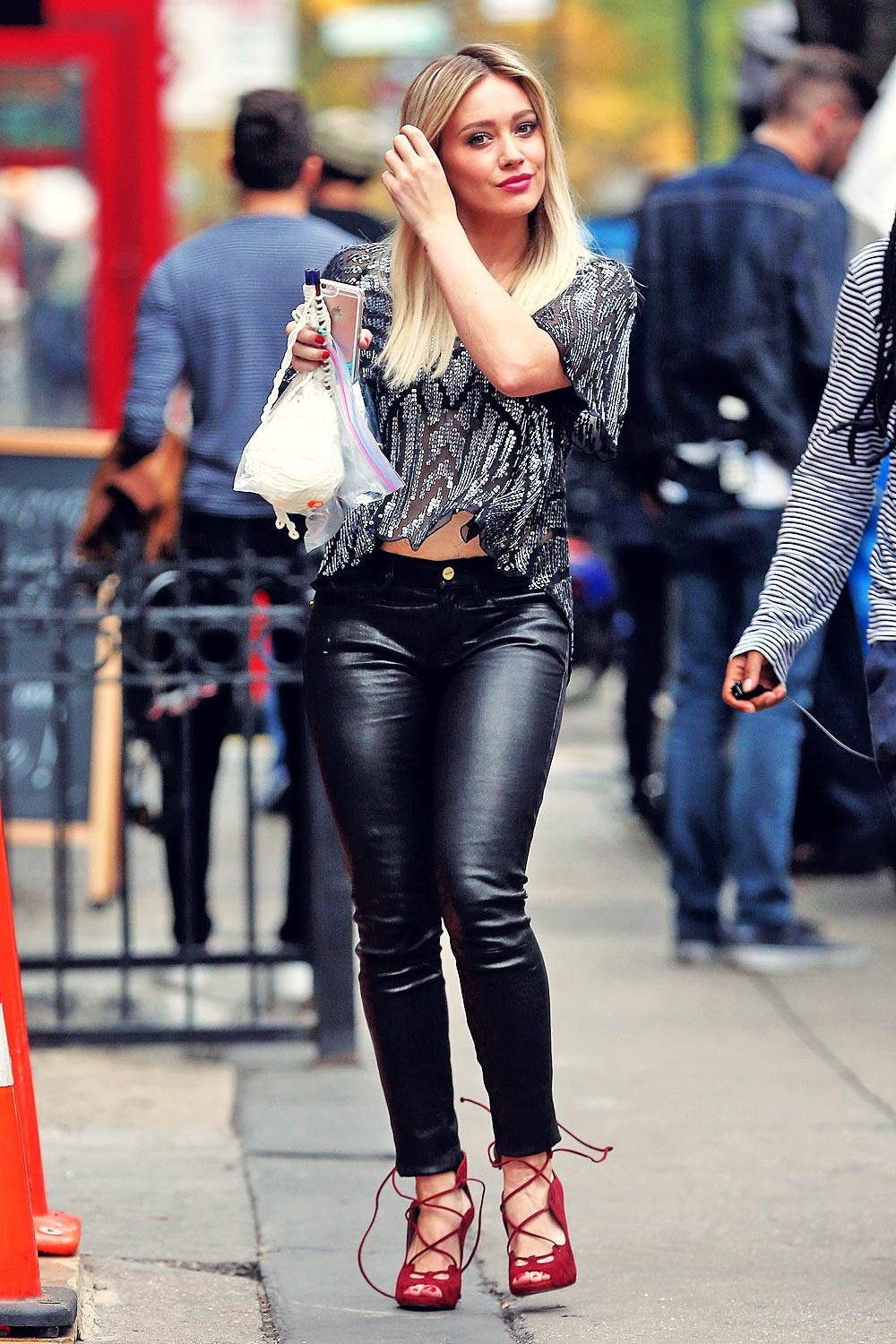 Hilary Duff On The Set Of Younger Leather Celebrities