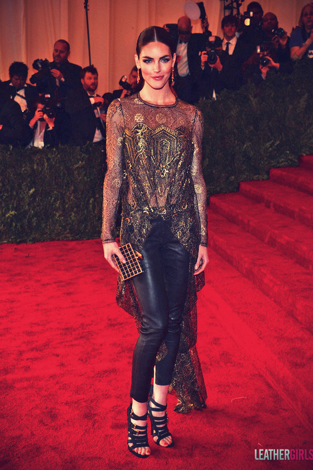 Hilary Rhoda attends the Costume Institute Gala for the Punk Chaos to Couture exhibition