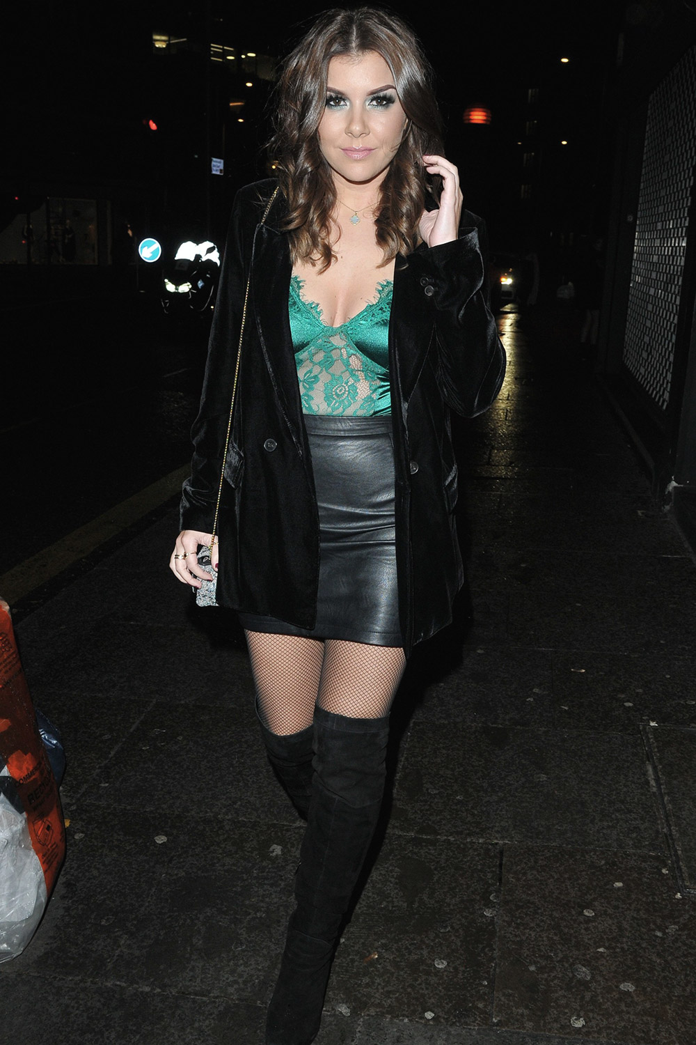 Imogen Thomas arrives at The Never Fully Dressed VIP festive dinner