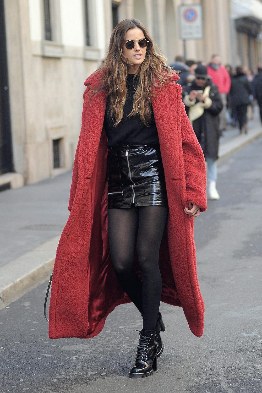 Izabel Goulart Walks In Milan Leather Celebrities