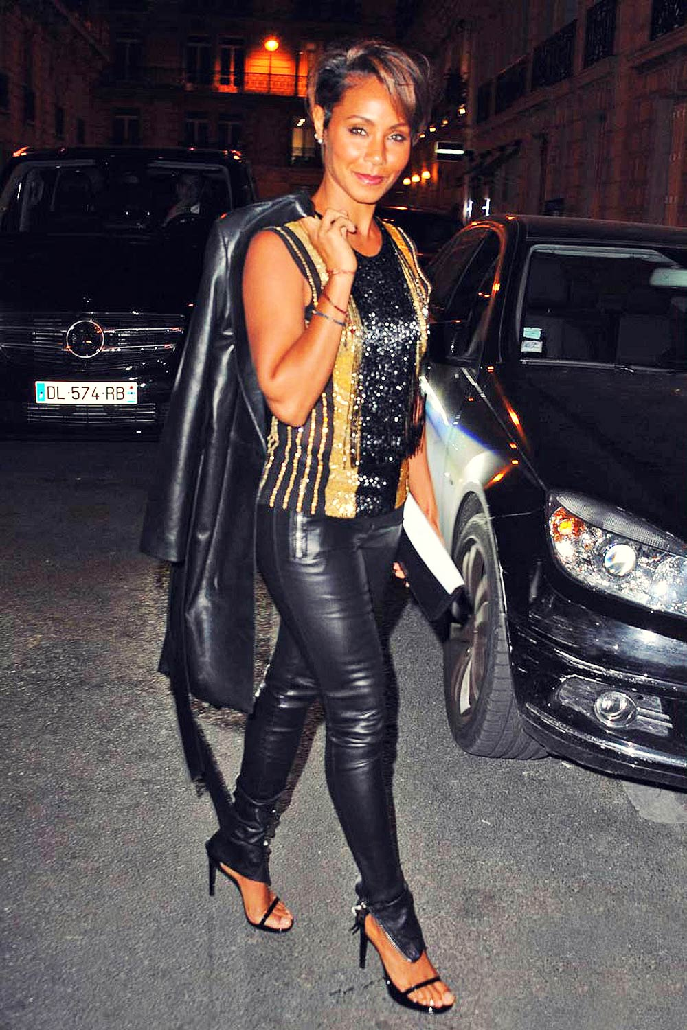 Jada Pinkett Smith dinner at Italiano La Stresa restaurant in Paris