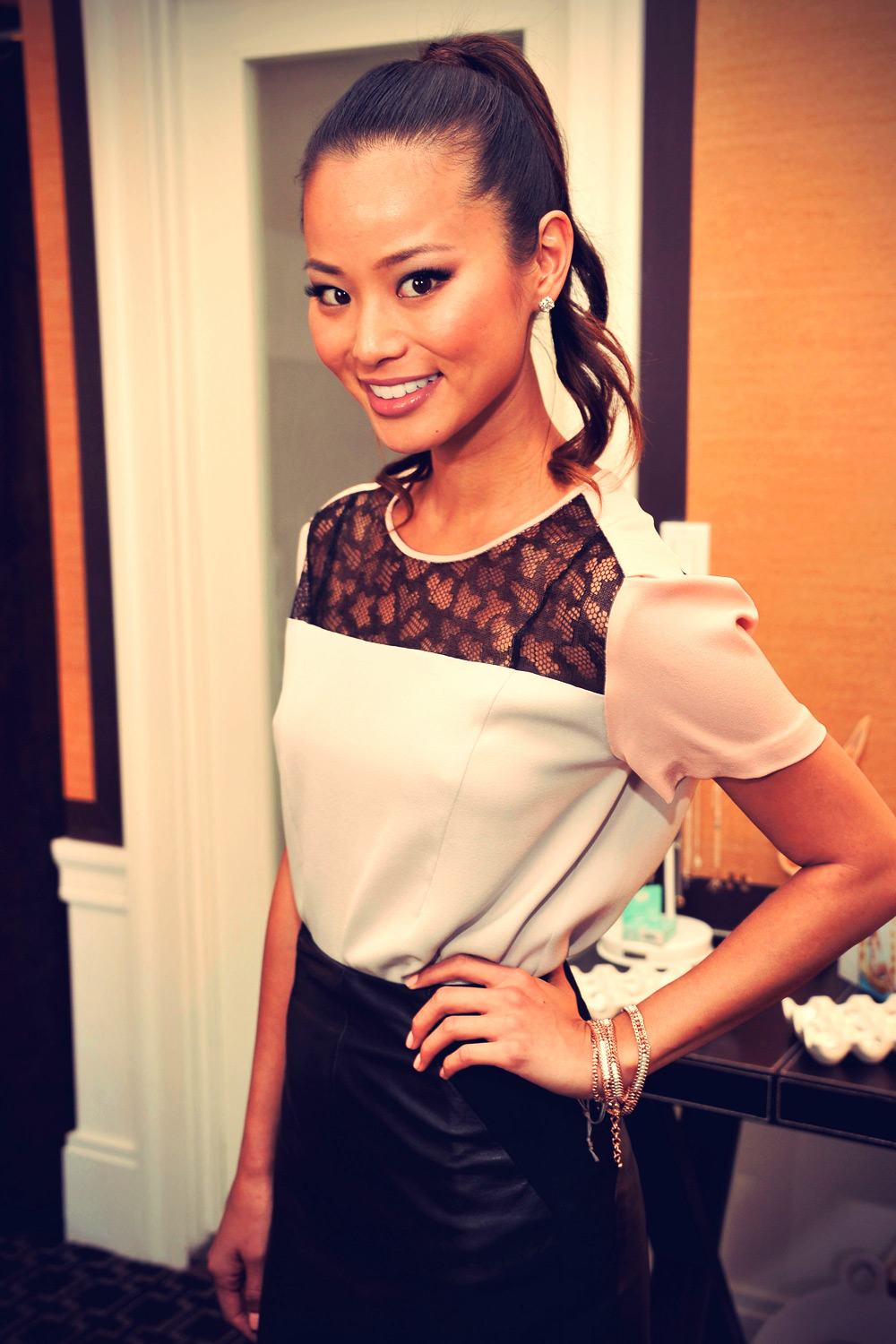Jamie Chung at Get Glam Lounge Fashion Week