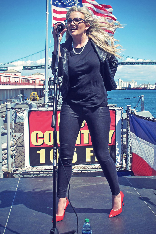 Jamie Lynn Spears performs at a concert on USS Iowa San Pedro
