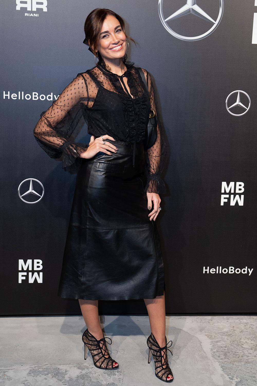 Jana Ina Zarrella attends Riani Modenschau - Leather Celebrities