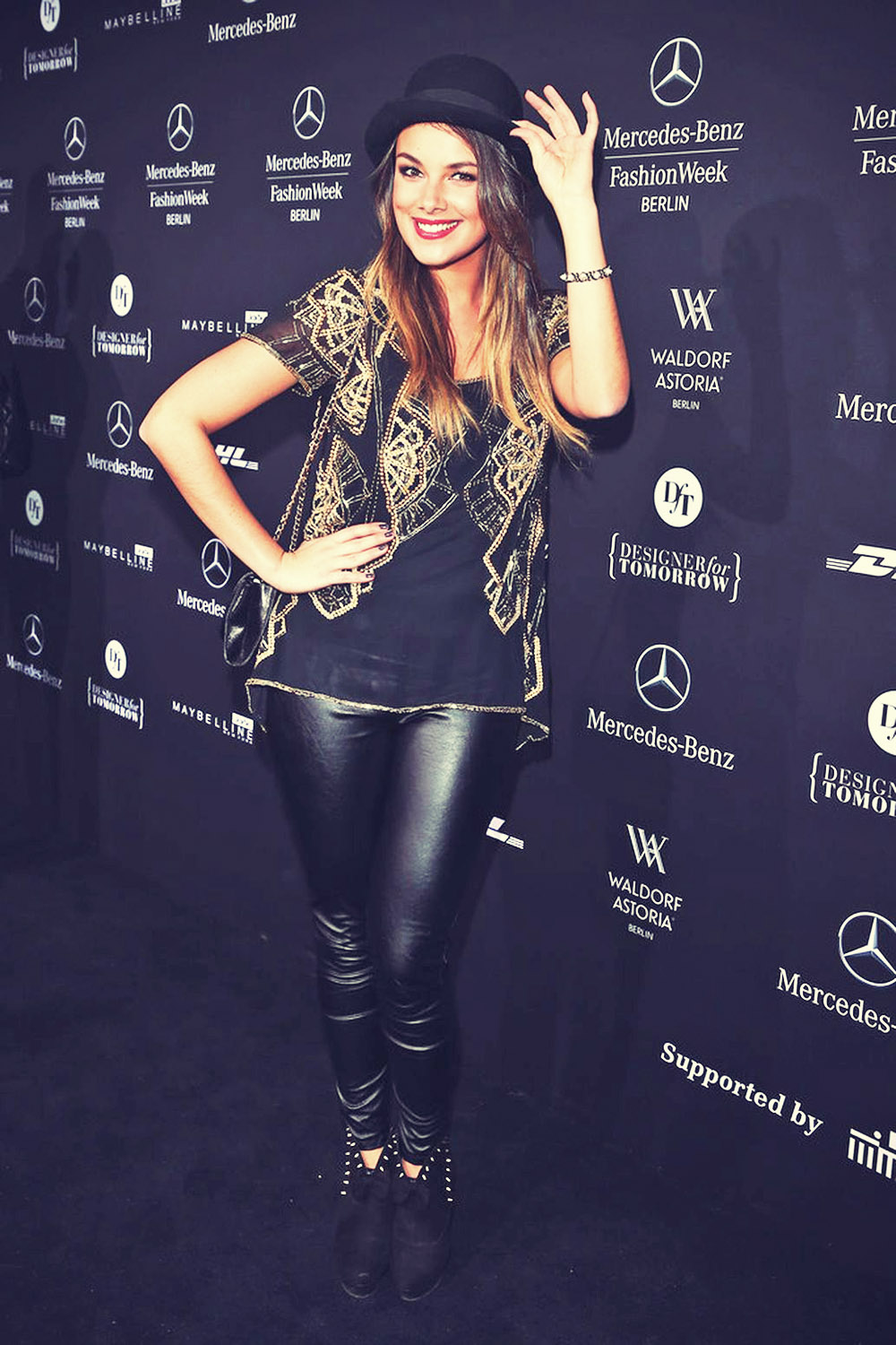 Janina Uhse attends Mercedes-Benz Fashion Week Berlin 2013