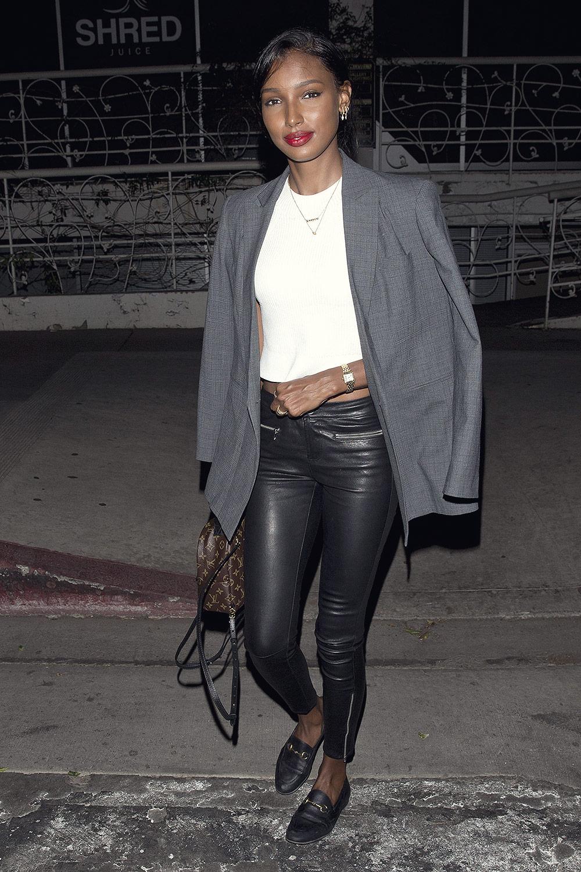 Jasmine Tookes Seen Leaving Madeo Restaurant Leather
