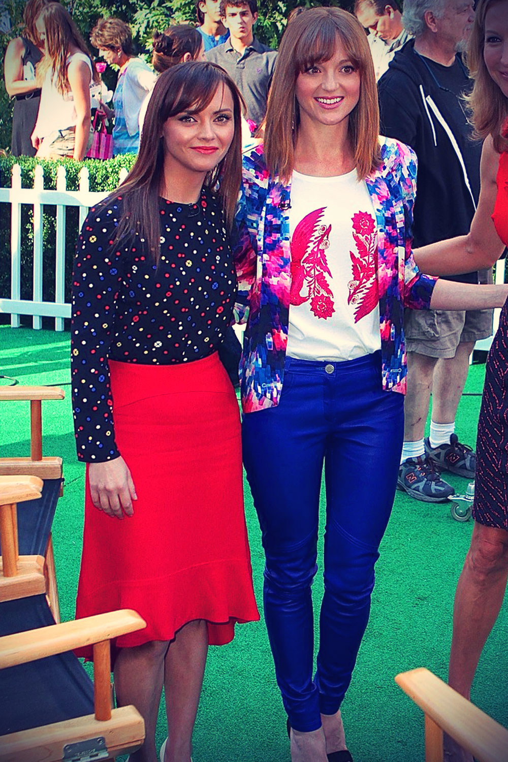 Jayma Mays keeps it colorful while appearing on Good Morning America