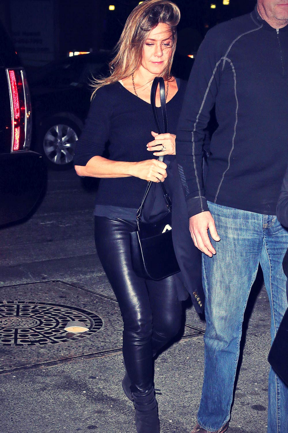 Jennifer Aniston Seen Returning To Her Hotel Leather