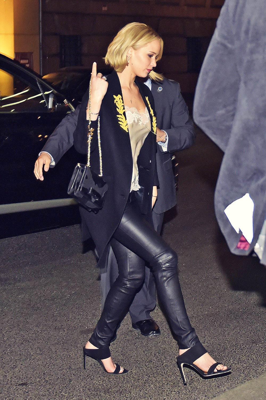 Jennifer Lawrence arriving at Borchardt Restaurant