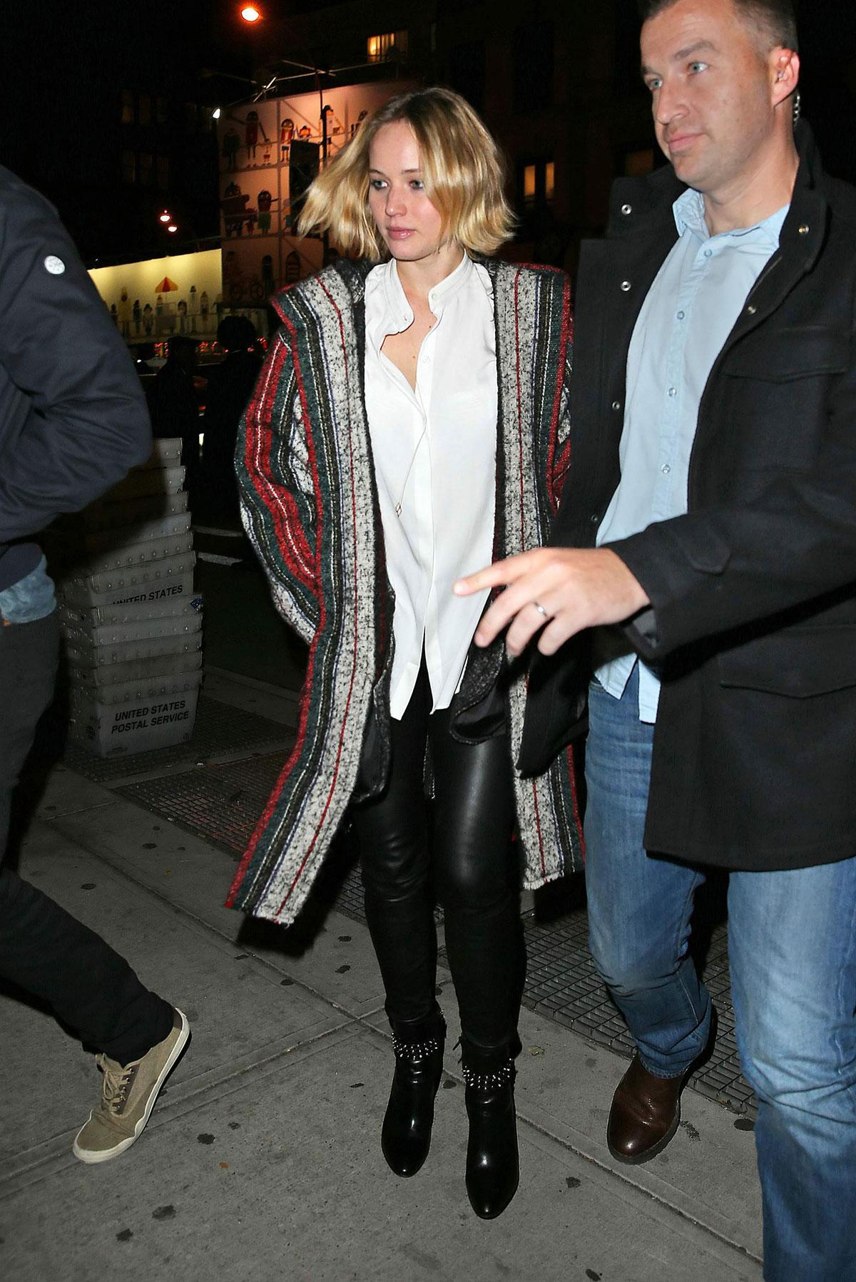 Jennifer Lawrence is seen spotted leaving Restaurant