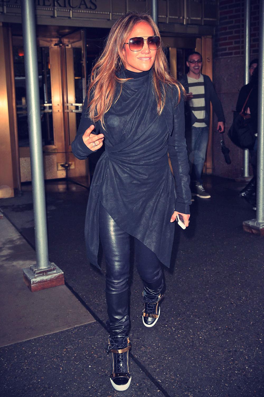 Jennifer Lopez visiting the Z100 Studios