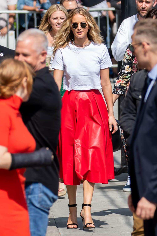 Jennifer Lawrence outside Jimmy Kimmel Live
