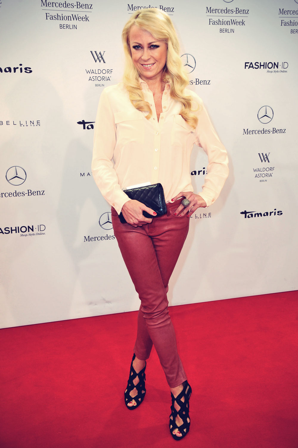 Jenny Elvers Elbertzhagen attends Mercedes-Benz Fashion Week