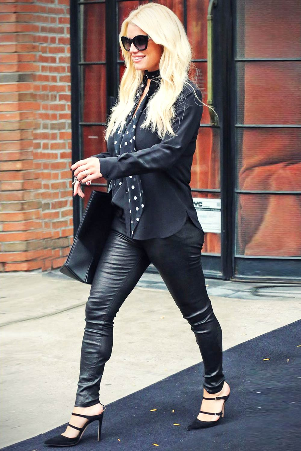 Jessica Simpson Out And About In New York Leather