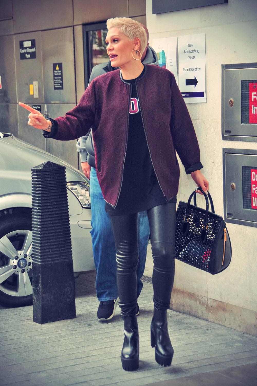Jessie J arrives at Radio 1 in London