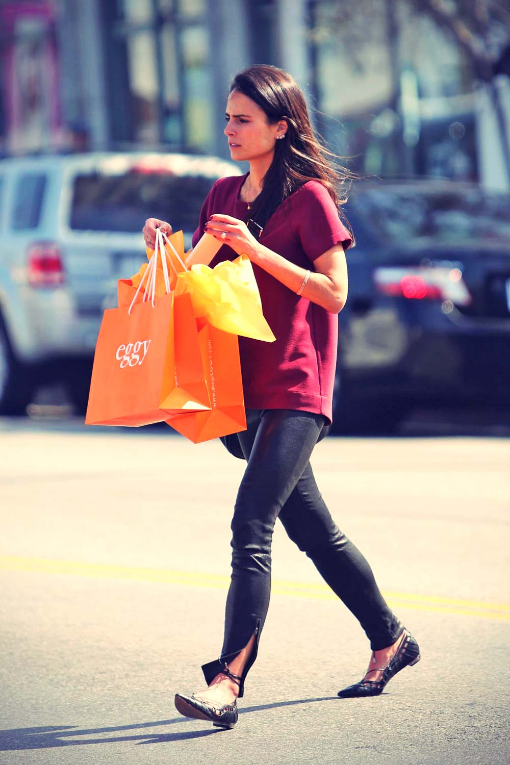 Jordana Brewster shopping at children's boutique Eggy