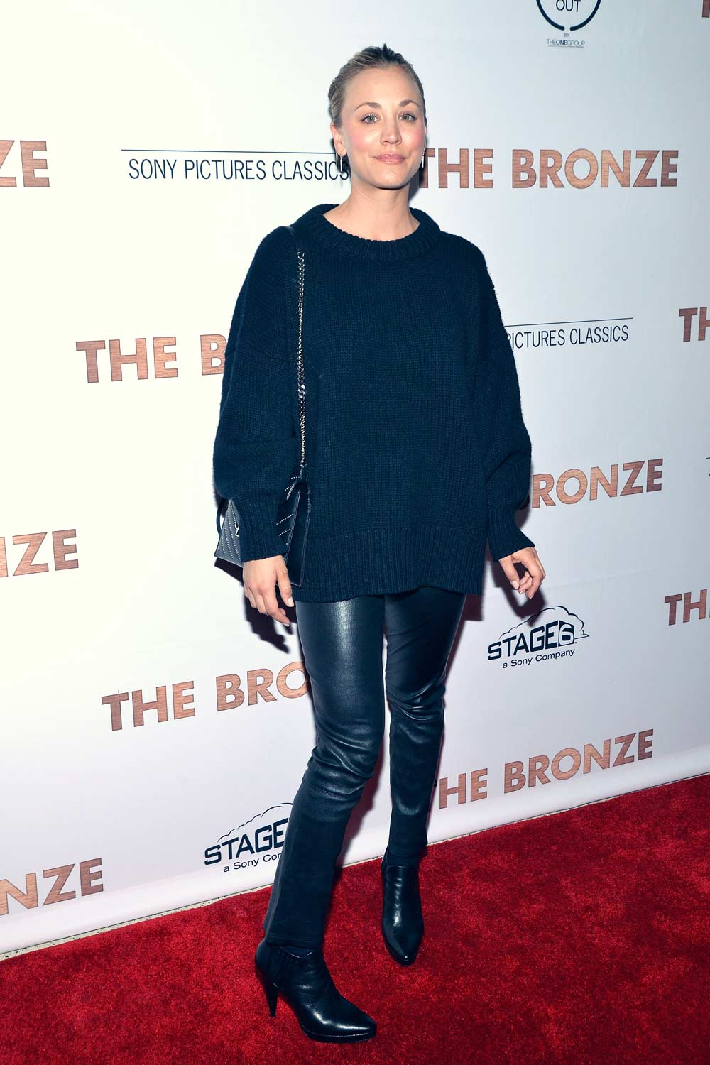 Kaley Cuoco Attends The Premiere Of The Bronze Leather