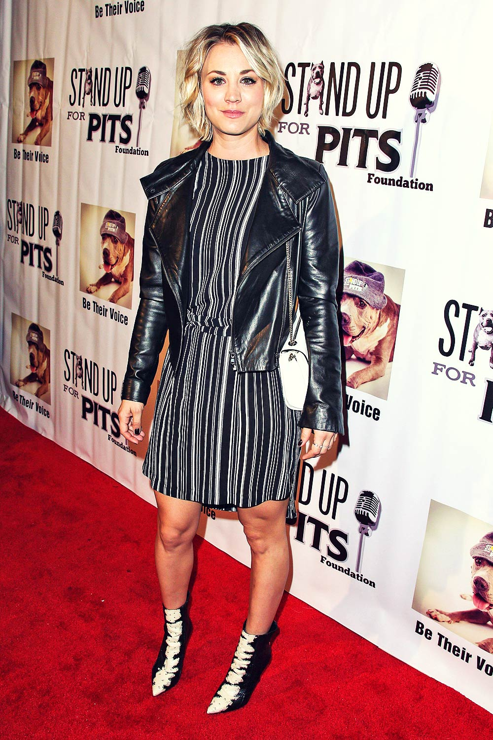 Kaley Cuoco Stand Up For Pits Comedy Benefit Leather