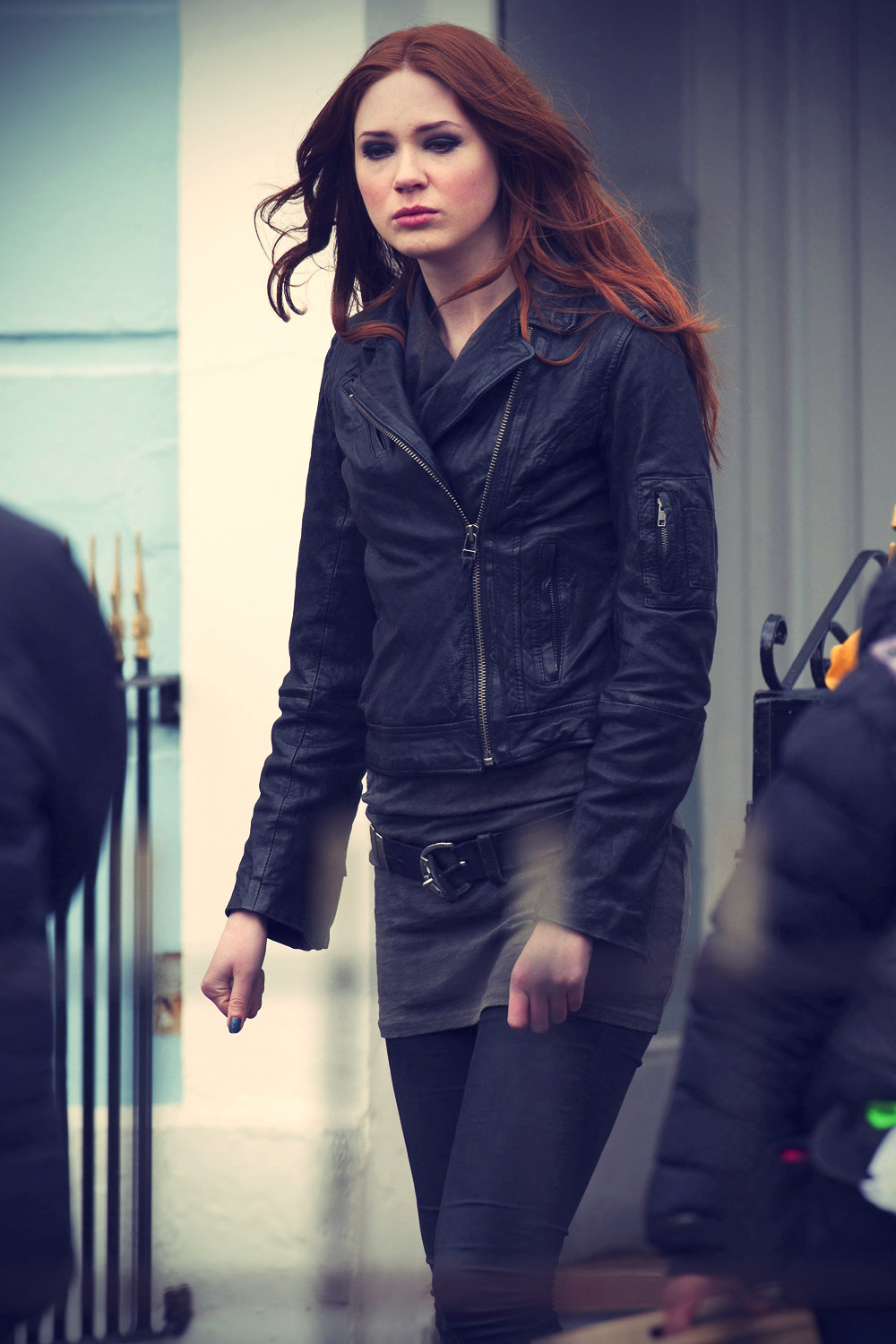 Karen Gillan at Doctor Who set
