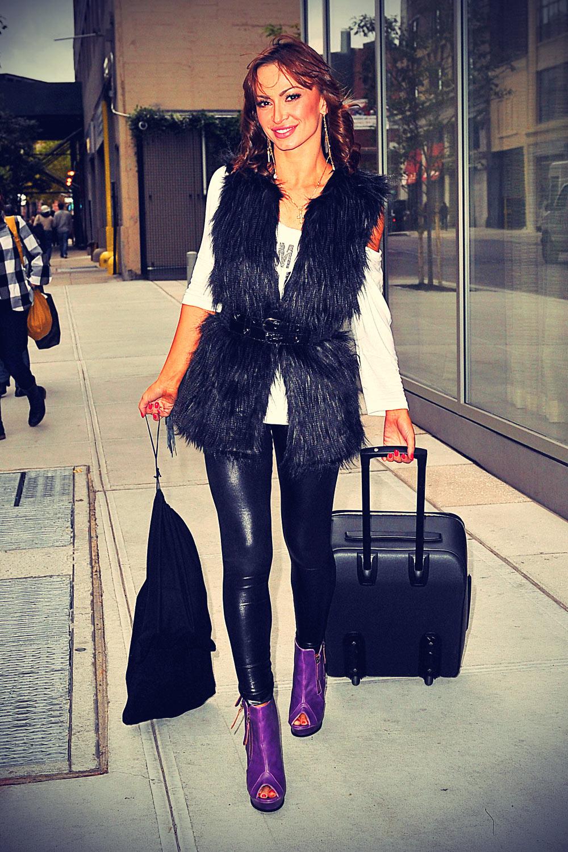 Karina Smirnoff arrived at her NYC hotel