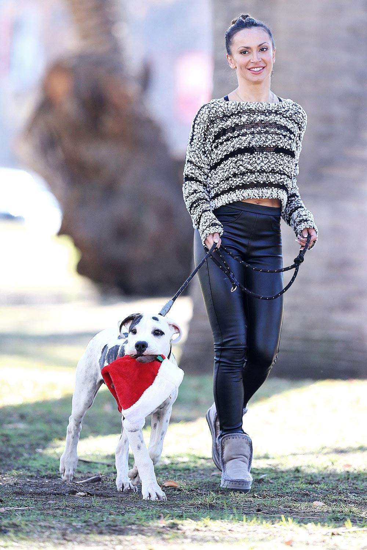 Karina Smirnoff walking her dog in Woodland Hills