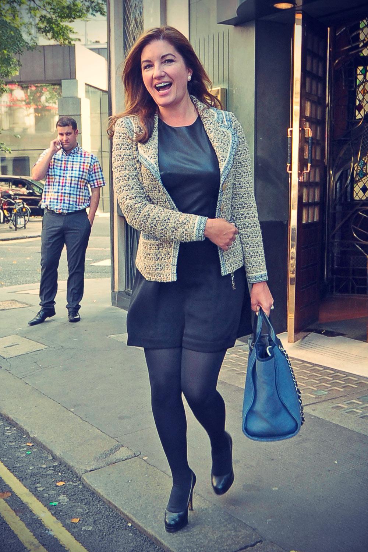 Karren Brady leaving The Ivy Club in London