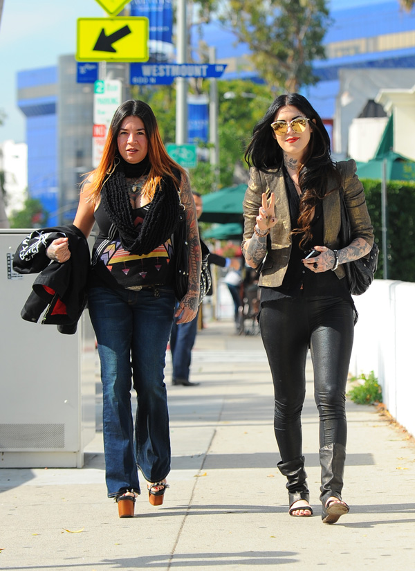 Kat Von D seen walking on Melrose Avenue in West Hollywood