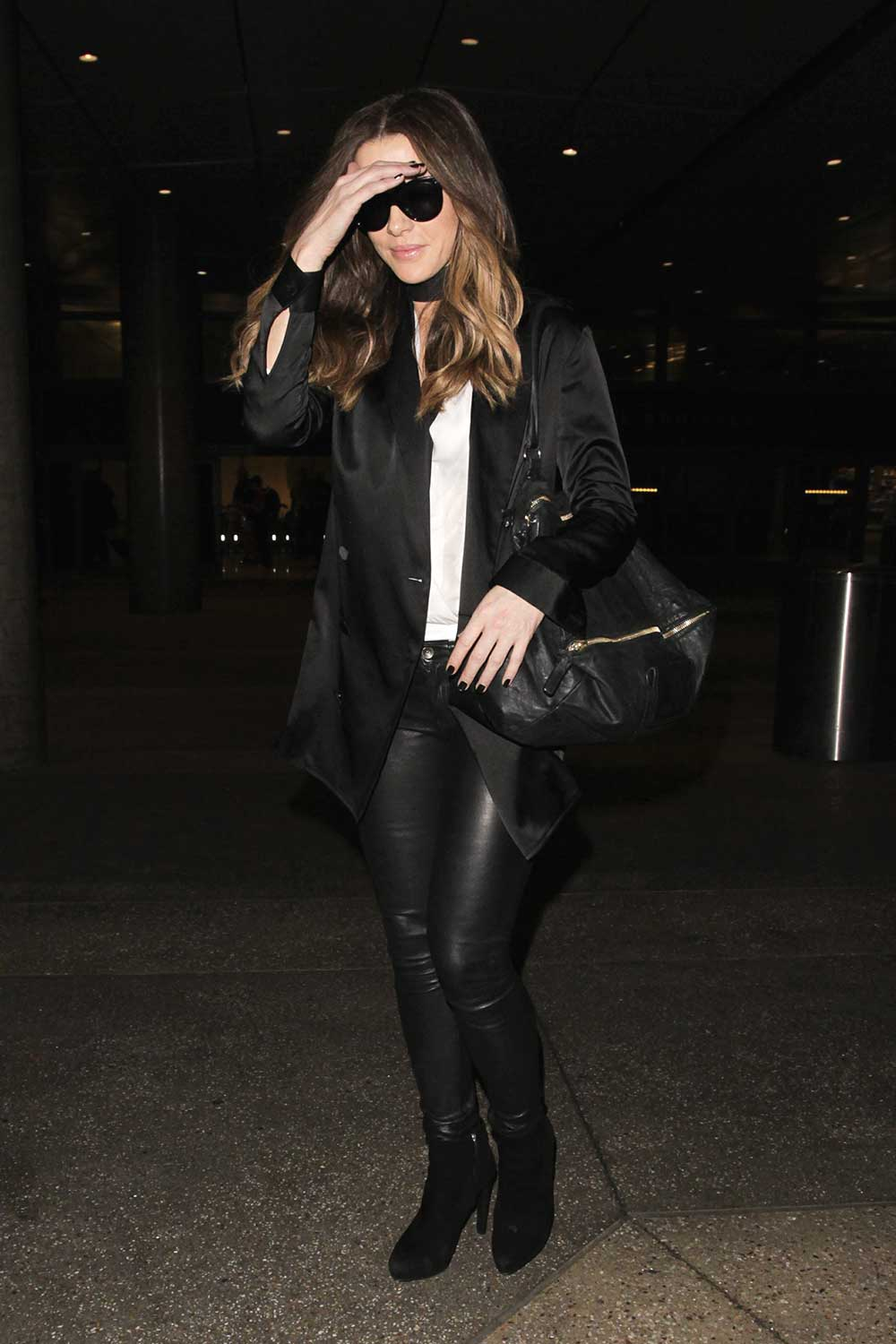 Kate Beckinsale arrives at LAX Airport - Leather Celebrities