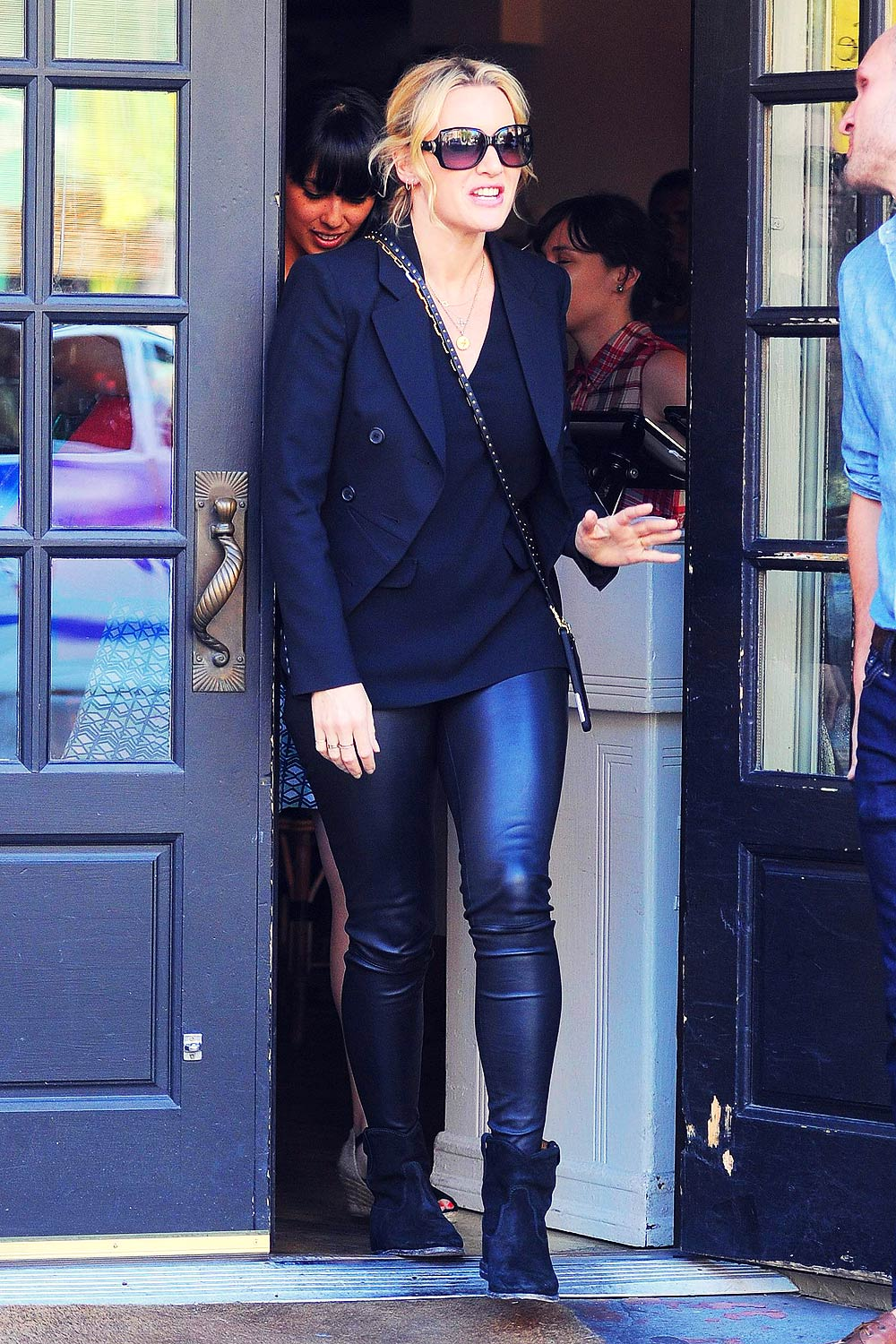 Kate Winslet Gets Lunch At Cafe Cluny Leather Celebrities