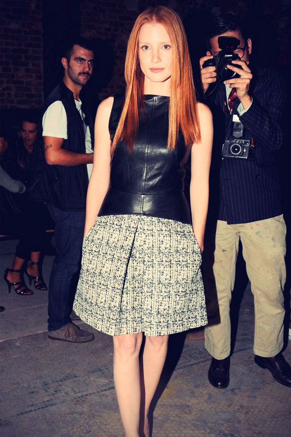 Kate Bosworth, Jessica Chastain and Kirsten Dunst at Mercedes-Benz Fashion Week