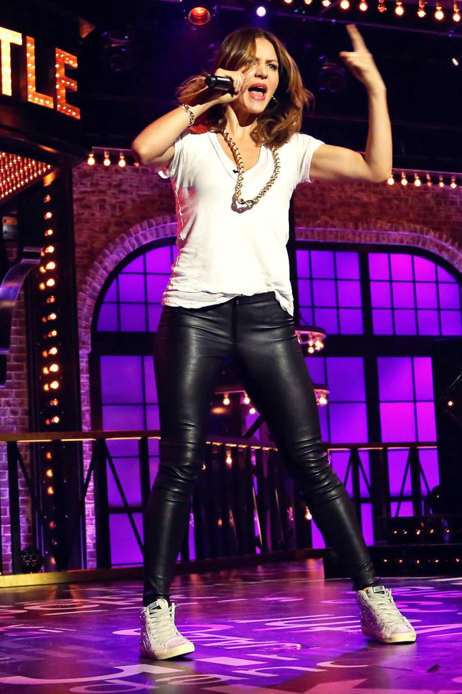 Katharine Mcphee At Lip Sync Battle Leather Celebrities