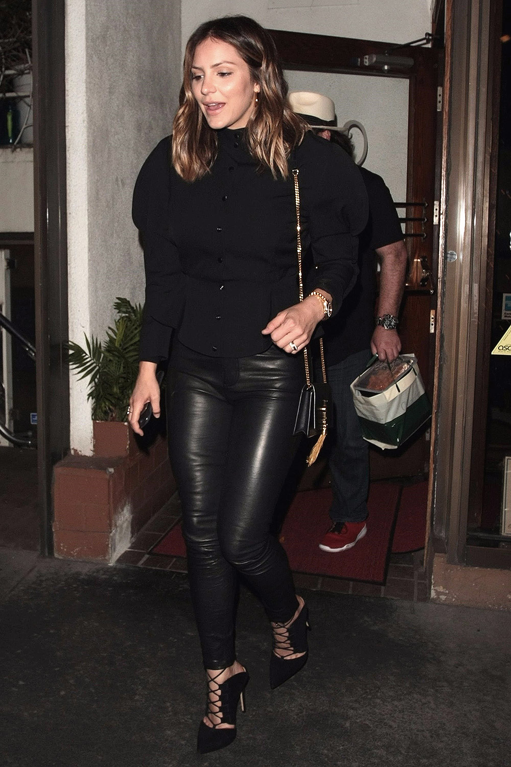 Katharine McPhee spotted dining at Madeo - Leather Celebrities