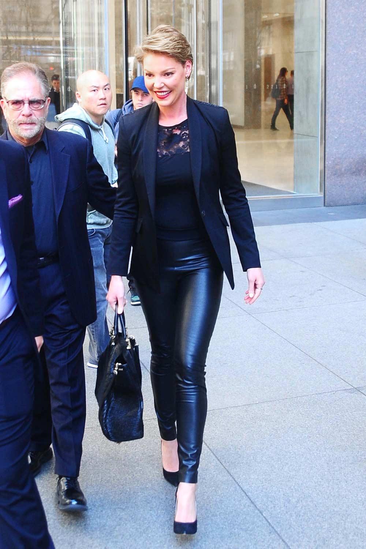 Katherine Heigl Leaves The Siriusxm Studios Leather