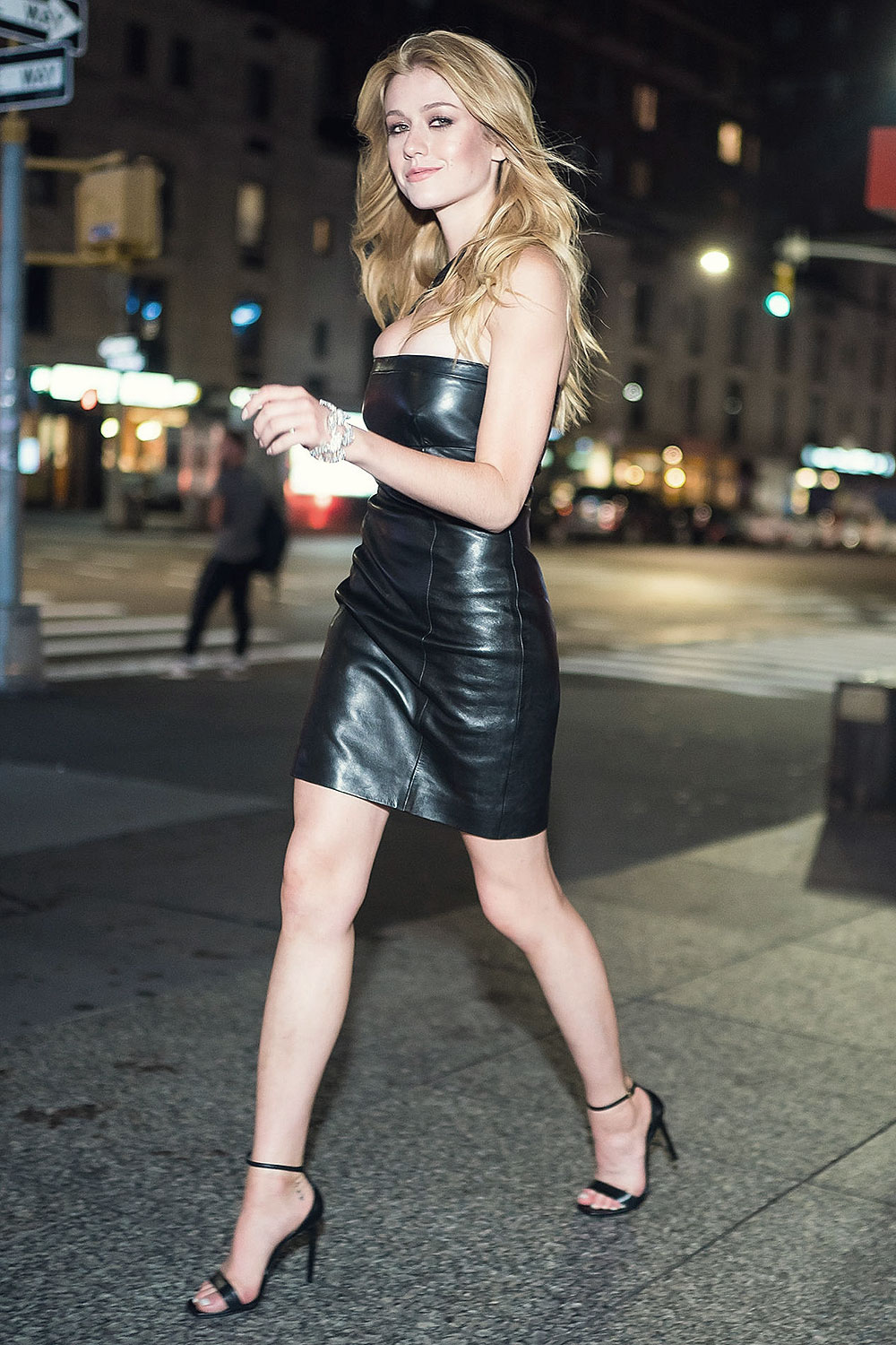 Katherine McNamara out & about in Midtown - Leather
