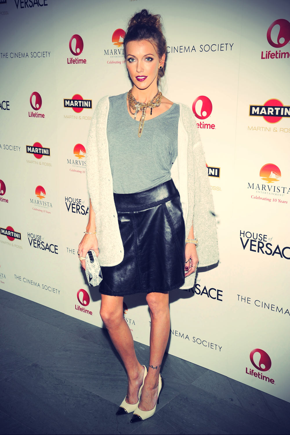 Katie Cassidy attends House of Versace screening at Celeste Bartos Theater