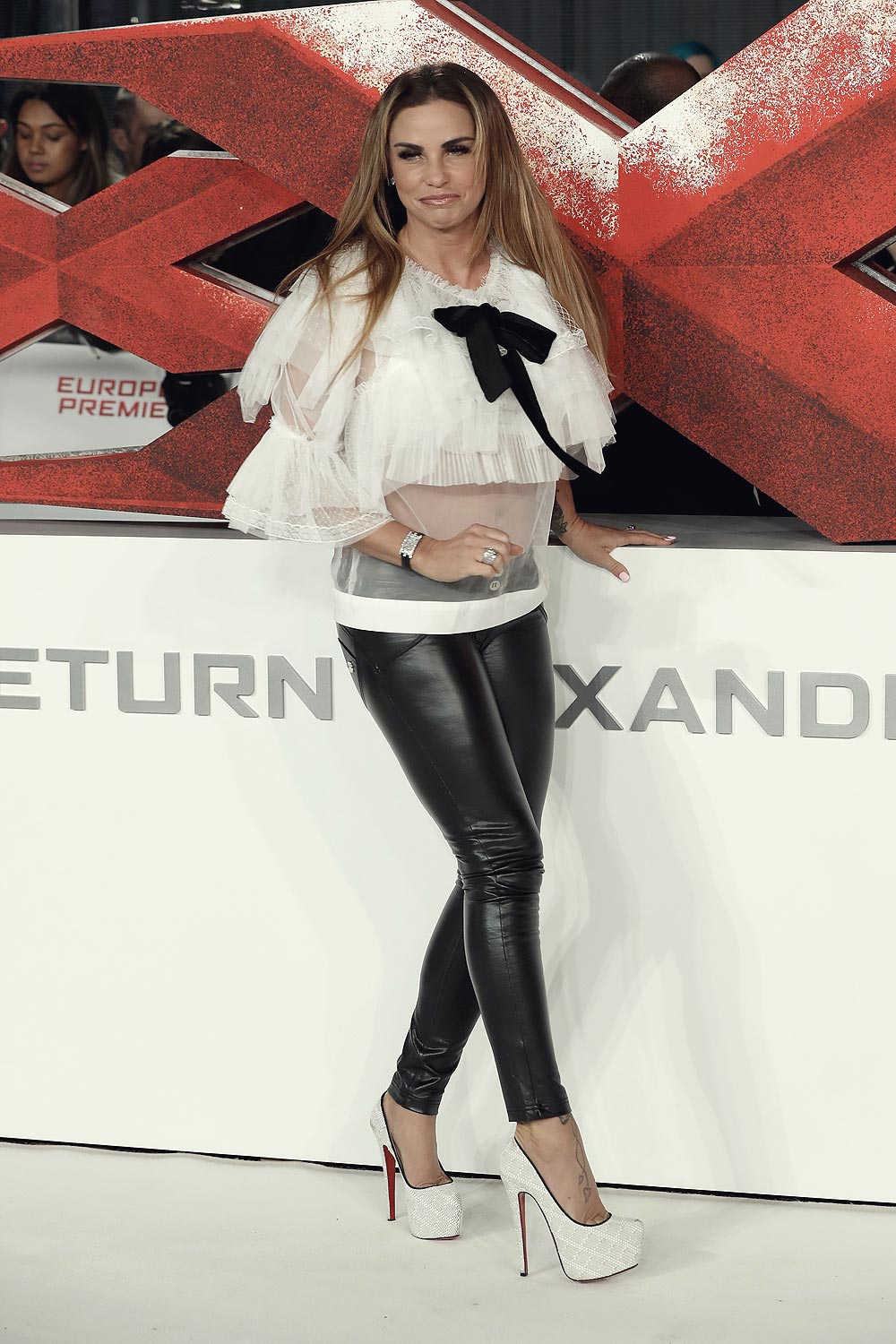 Katie Price attends the European premiere of xXx Return of Xander Cage