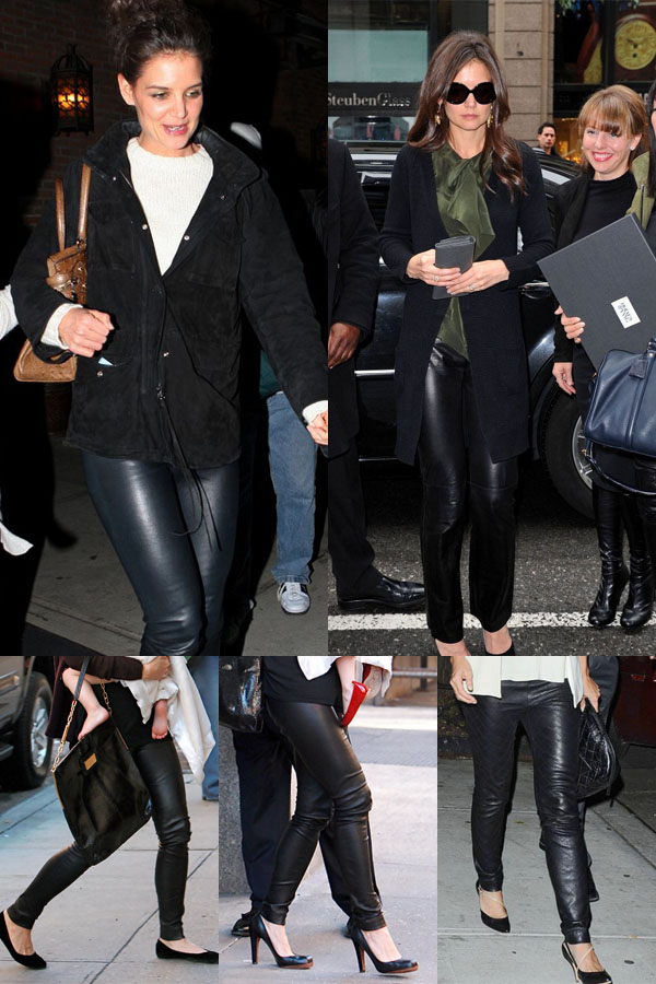 Katie Holmes leather mix