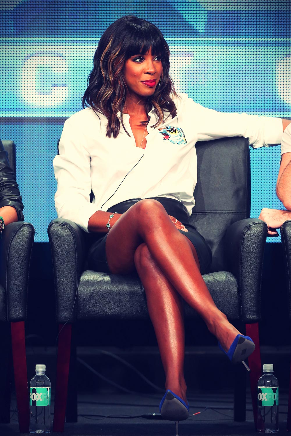Kelly Rowland & Demi Lovato during the The X Factor panel discussion