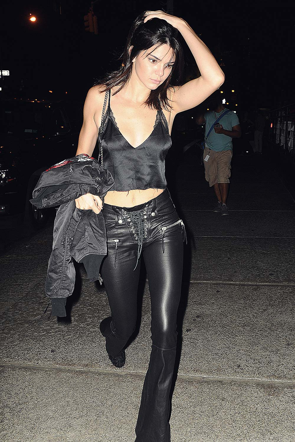 Kendall Jenner Out For Dinner At Mr Chow Leather