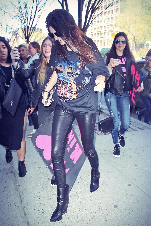 Kendall Jenner heads to her half-sister Kim Kardashian's apartment
