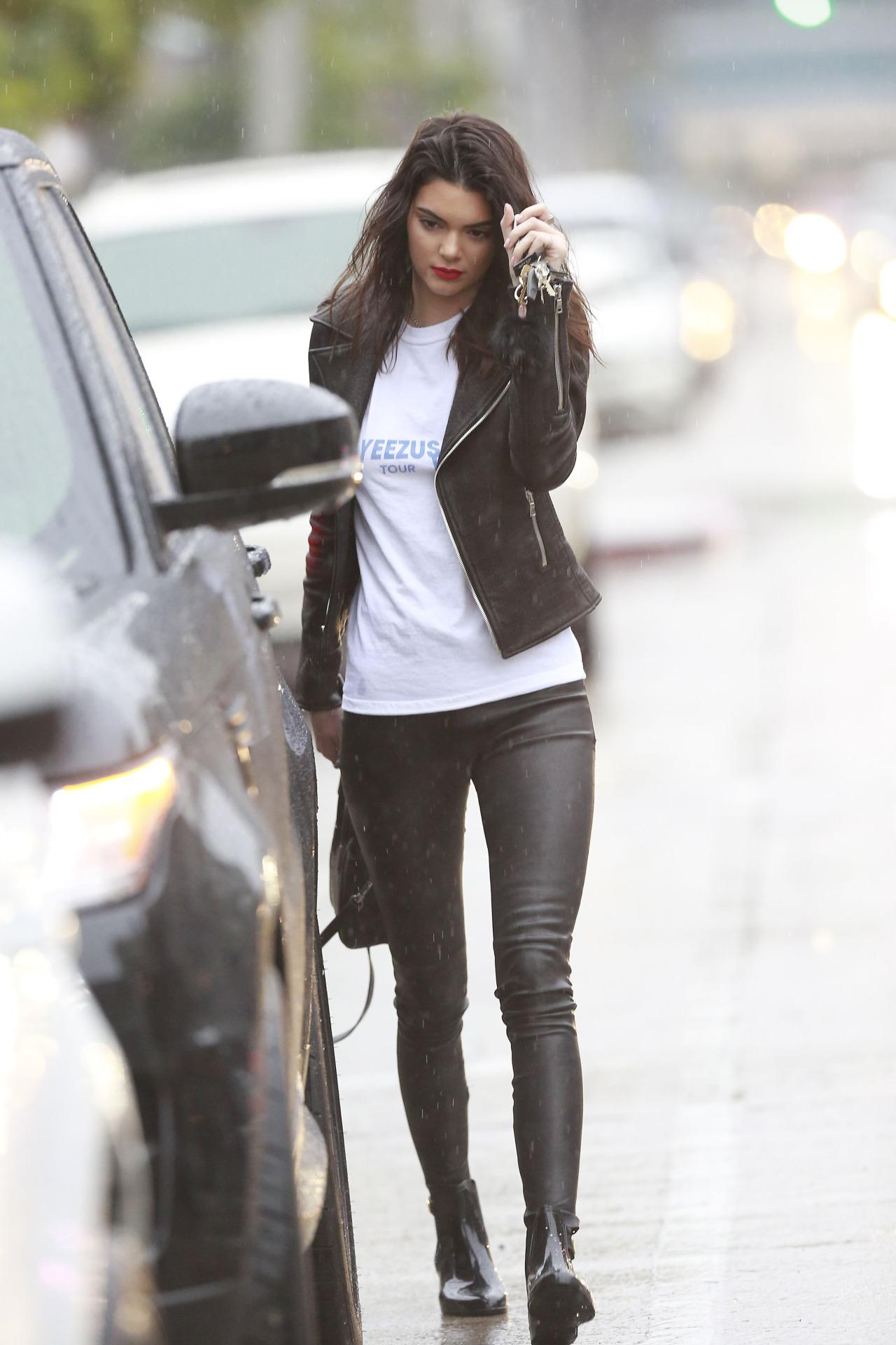 Kendall Jenner Out And About In Los Angeles Leather