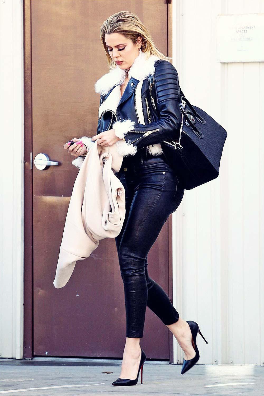 Khloe Kardashian heads out of ShowBiz Studios - Leather ...