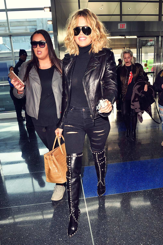 Khloe Kardashian At Jfk Airport In Nyc Leather Celebrities