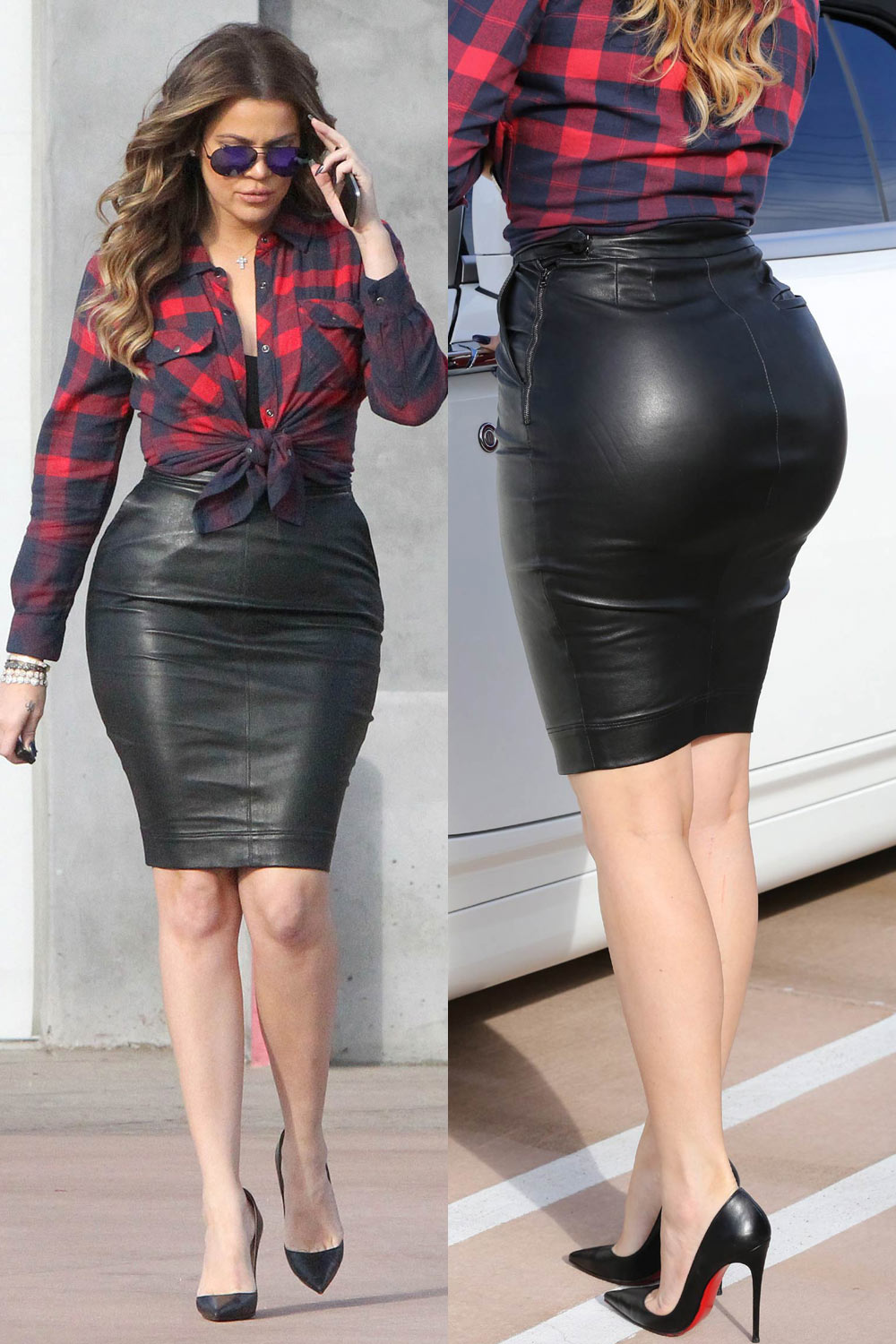 Khloe Kardashian Rocks A Tight Black Leather Skirt While Filming In