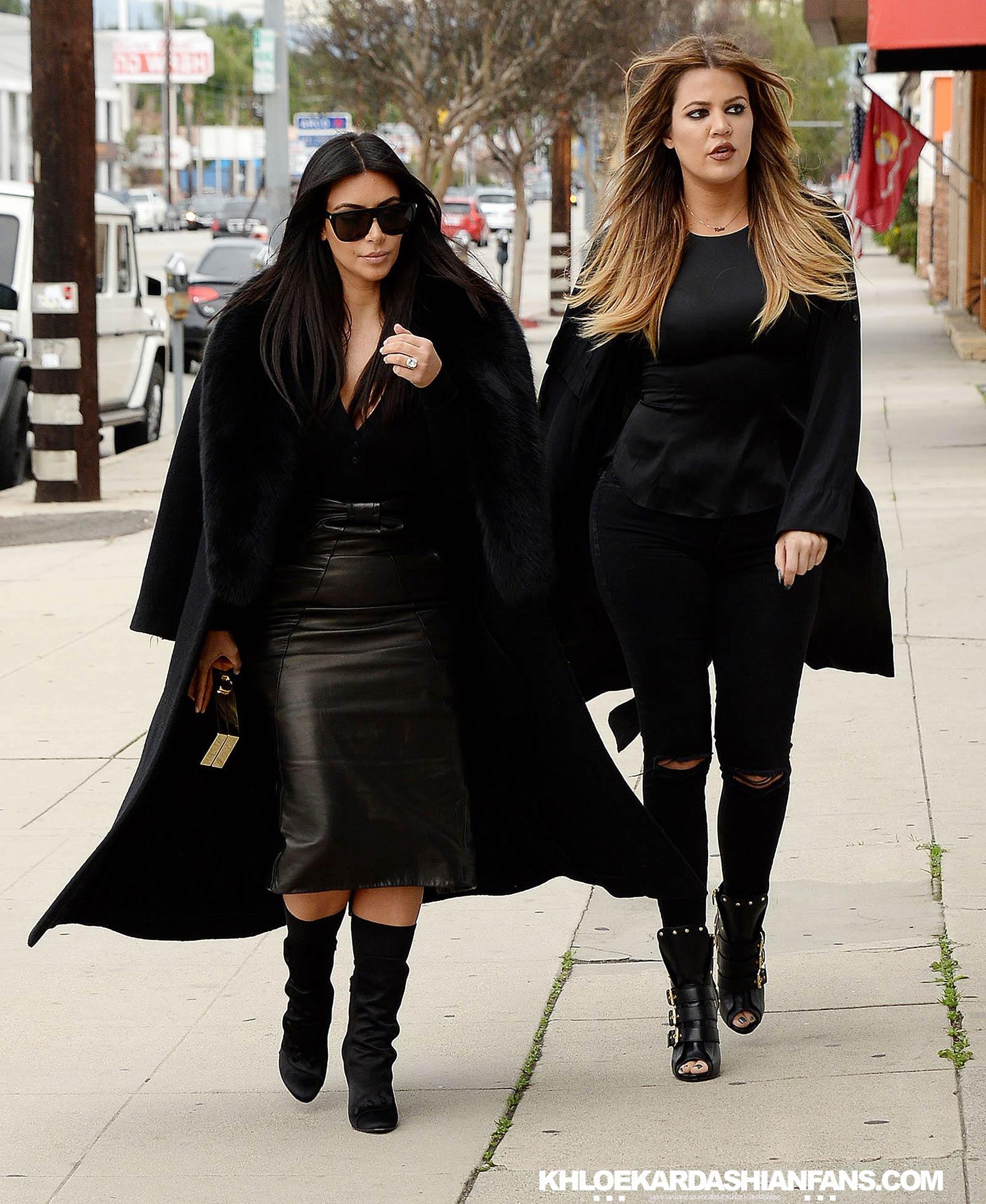 Kim & Khloe Kardashian arriving at Jenner Communications