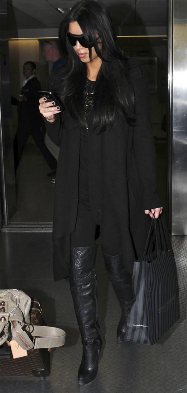 Kim Kardashian arrives into LAX Airport in LA